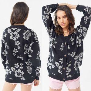 NWT UO Hawaiian Jacquard Floral Cardigan Sweater